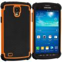 Samsung Galaxy S4 Active i537 Black / Orange Hybrid Rugged Hard/Soft Case Cover Angle 1