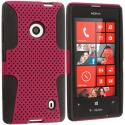 Nokia Lumia 521 Black / Hot Pink Hybrid Mesh Hard/Soft Case Cover Angle 1
