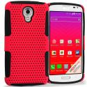 LG Volt LS740 Black / Red Hybrid Mesh Hard/Soft Case Cover Angle 1