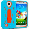 Samsung Galaxy S4 Baby Blue / Orange Hybrid Heavy Duty Hard Soft Case Cover with Kickstand Angle 1