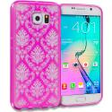 Samsung Galaxy S6 Hot Pink TPU Damask Designer Luxury Rubber Skin Case Cover Angle 1
