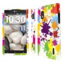 AT&T LG Optimus G E970 MPERO Full Protection Paint Splatter White Case Cover Angle 1