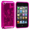 Apple iPod Touch 4th Generation Hot Pink Butterfly TPU Rubber Skin Case Cover Angle 1