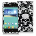 LG Splendor US730 Black / White Skulls Design Crystal Hard Case Cover Angle 1