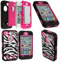 Apple iPhone 4 / 4S Hot Pink + Protector Hybrid Zebra 3-Piece Case Cover Angle 1