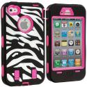 Apple iPhone 4 / 4S Hot Pink + Protector Hybrid Zebra 3-Piece Case Cover Angle 2