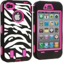 Apple iPhone 4 / 4S Hot Pink + Protector Hybrid Zebra 3-Piece Case Cover Angle 3