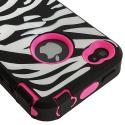 Apple iPhone 4 / 4S Hot Pink + Protector Hybrid Zebra 3-Piece Case Cover Angle 7