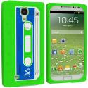 Samsung Galaxy S4 Neon Green Cassette Silicone Soft Skin Case Cover Angle 1