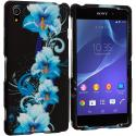 Sony Xperia Z2 Blue Flowers 2D Hard Rubberized Design Case Cover Angle 1