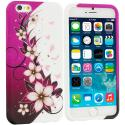 Apple iPhone 6 6S (4.7) Purple Silver Vine Flower TPU Design Soft Case Cover Angle 1