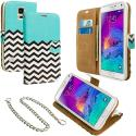 Samsung Galaxy Note 4 Mint Green Zebra Leather Wallet Pouch Case Cover with Slots Angle 1