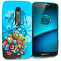 Motorola Droid Maxx 2 XT1565 Blue Butterfly Flower TPU Design Soft Rubber Case Cover Angle 1
