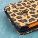 Nokia Lumia 530 - Studded Leopard MPERO FLEX FLIP Wallet Case Cover Angle 7