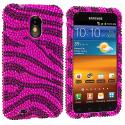 Samsung Epic Touch 4G D710 Sprint Galaxy S2 Black / Hot Pink Zebra Bling Rhinestone Case Cover Angle 1