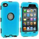 Apple iPod Touch 4th Generation Baby Blue Deluxe Hybrid Deluxe Hard/Soft Case Cover Angle 1
