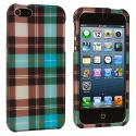 Apple iPhone 5/5S/SE Blue Checkered Hard Rubberized Design Case Cover Angle 1