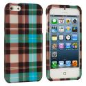 Apple iPhone 5 Blue Checkered Hard Rubberized Design Case Cover Angle 2