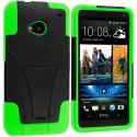 HTC One M7 Black / Neon Green Hybrid Hard/Silicone Case Cover with Stand Angle 2