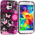 Samsung Galaxy S5 Pink Butterfly Flower TPU Design Soft Case Cover Angle 1