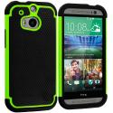 HTC One M8 Black / Neon Green Hybrid Rugged Hard/Soft Case Cover Angle 1