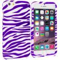 Apple iPhone 6 Plus 6S Plus (5.5) Purple / White Zebra Hard Rubberized Design Case Cover Angle 1