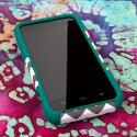 ZTE Warp 4G N9510 - Teal Chevron MPERO IMPACT X - Kickstand Case Cover Angle 2