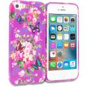 Apple iPhone 5/5S/SE Purple Mixed Flower TPU Design Soft Rubber Case Cover Angle 1