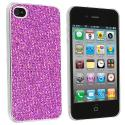 Apple iPhone 4 / 4S Purple Glitter Case Cover Angle 1