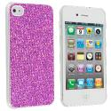 Apple iPhone 4 / 4S Purple Glitter Case Cover Angle 2