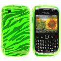 BlackBerry Curve 8520 8530 3G 9300 9330 Green Zebra TPU Rubber Skin Case Cover Angle 1