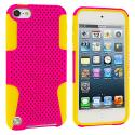 Apple iPod Touch 5th 6th Generation Yellow / Pink Hybrid Mesh Hard/Soft Case Cover Angle 1