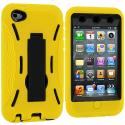 Apple iPod Touch 4th Generation Yellow / Black Hybrid Heavy Duty Hard/Soft Case Cover with Stand Angle 3