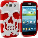 Samsung Galaxy S3 Red / White Hybrid Skull Hard/Soft Case Cover Angle 1