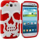 Samsung Galaxy S3 Red / White Hybrid Skull Hard/Soft Case Cover Angle 2