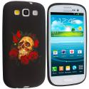 Samsung Galaxy S3 Rose Skull TPU Design Soft Case Cover Angle 1