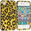 Apple iPhone 4 / 4S Black Leopard on Golden 2D Hard Rubberized Design Case Cover Angle 1