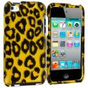 Apple iPod Touch 4th Generation Black Leopard on Golden 2D Hard Rubberized Design Case Cover Angle 1