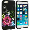 Apple iPhone 6 Plus 6S Plus (5.5) Flowers on Black TPU Design Soft Rubber Case Cover Angle 1