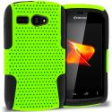Kyocera Hydro C5170 Black / Neon Green Hybrid Mesh Hard/Soft Case Cover Angle 1