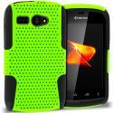Kyocera Hydro C5170 Black / Neon Green Hybrid Mesh Hard/Soft Case Cover Angle 1