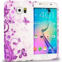 Samsung Galaxy S6 Purple Swirl TPU Design Soft Rubber Case Cover Angle 1
