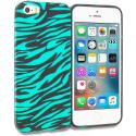 Apple iPhone 5/5S/SE Black/Baby Blue Zebra TPU Design Soft Rubber Case Cover Angle 1