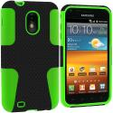 Samsung Epic Touch 4G D710 Sprint Galaxy S2 Neon Green / Black Hybrid Mesh Hard/Soft Case Cover Angle 1