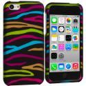 Apple iPhone 5C Rainbow Zebra on Black Hard Rubberized Design Case Cover Angle 1