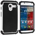 Motorola Moto X Black / White Hybrid Rugged Hard/Soft Case Cover Angle 1
