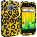ZTE Radiant Black Leopard on Golden 2D Hard Rubberized Design Case Cover Angle 1