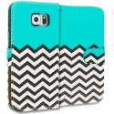 Samsung Galaxy S6 Edge Mint Green Zebra Leather Wallet Pouch Case Cover with Slots Angle 2