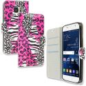 Samsung Galaxy S7 Bowknot Zebra Design Wallet Flip Pouch Case Cover with Credit Card ID Slots Angle 1