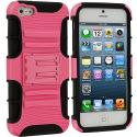 Apple iPhone 5/5S/SE Black / Pink Hybrid Heavy Duty Hard/Soft Case Cover with Holster Angle 2